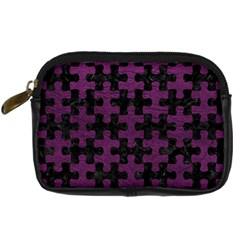 Puzzle1 Black Marble & Purple Leather Digital Camera Cases by trendistuff