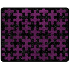 Puzzle1 Black Marble & Purple Leather Double Sided Fleece Blanket (medium)  by trendistuff