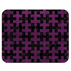 Puzzle1 Black Marble & Purple Leather Double Sided Flano Blanket (medium)  by trendistuff
