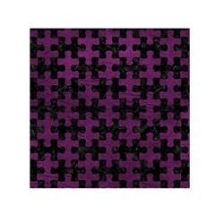 Puzzle1 Black Marble & Purple Leather Small Satin Scarf (square) by trendistuff