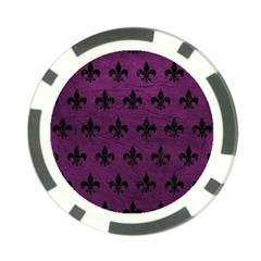 Royal1 Black Marble & Purple Leather (r) Poker Chip Card Guard (10 Pack) by trendistuff
