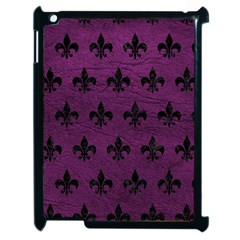 Royal1 Black Marble & Purple Leather (r) Apple Ipad 2 Case (black) by trendistuff
