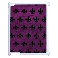 Royal1 Black Marble & Purple Leather (r) Apple Ipad 2 Case (white) by trendistuff