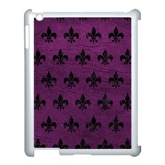 Royal1 Black Marble & Purple Leather (r) Apple Ipad 3/4 Case (white) by trendistuff