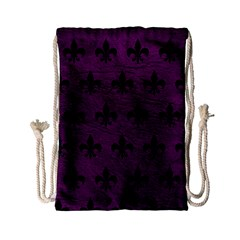 Royal1 Black Marble & Purple Leather (r) Drawstring Bag (small) by trendistuff