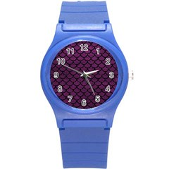 Scales1 Black Marble & Purple Leather Round Plastic Sport Watch (s) by trendistuff