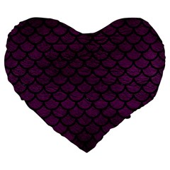 Scales1 Black Marble & Purple Leather Large 19  Premium Flano Heart Shape Cushions by trendistuff