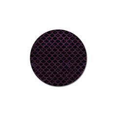 Scales1 Black Marble & Purple Leather (r) Golf Ball Marker by trendistuff