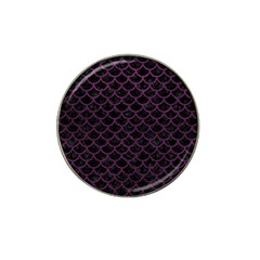 Scales1 Black Marble & Purple Leather (r) Hat Clip Ball Marker by trendistuff
