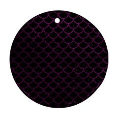 Scales1 Black Marble & Purple Leather (r) Round Ornament (two Sides) by trendistuff
