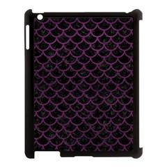 Scales1 Black Marble & Purple Leather (r) Apple Ipad 3/4 Case (black) by trendistuff
