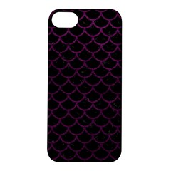 Scales1 Black Marble & Purple Leather (r) Apple Iphone 5s/ Se Hardshell Case by trendistuff