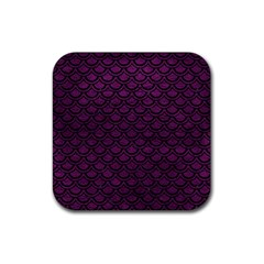 Scales2 Black Marble & Purple Leather Rubber Square Coaster (4 Pack)  by trendistuff
