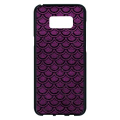 Scales2 Black Marble & Purple Leather Samsung Galaxy S8 Plus Black Seamless Case by trendistuff