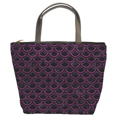Scales2 Black Marble & Purple Leather (r) Bucket Bags by trendistuff