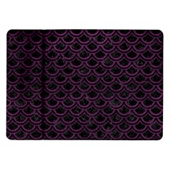 Scales2 Black Marble & Purple Leather (r) Samsung Galaxy Tab 10 1  P7500 Flip Case by trendistuff
