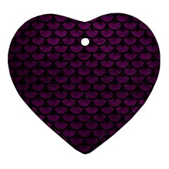 Scales3 Black Marble & Purple Leather Ornament (heart) by trendistuff