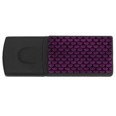 Scales3 Black Marble & Purple Leather Rectangular Usb Flash Drive by trendistuff