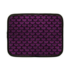 Scales3 Black Marble & Purple Leather Netbook Case (small)  by trendistuff