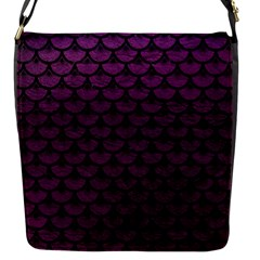 Scales3 Black Marble & Purple Leather Flap Messenger Bag (s) by trendistuff