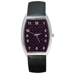 Scales3 Black Marble & Purple Leather (r) Barrel Style Metal Watch by trendistuff