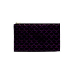 Scales3 Black Marble & Purple Leather (r) Cosmetic Bag (small)  by trendistuff