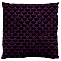 Scales3 Black Marble & Purple Leather (r) Large Cushion Case (two Sides) by trendistuff