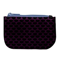 Scales3 Black Marble & Purple Leather (r) Large Coin Purse