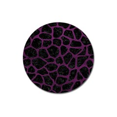 Skin1 Black Marble & Purple Leather Magnet 3  (round) by trendistuff