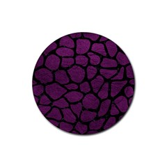 Skin1 Black Marble & Purple Leather (r) Rubber Coaster (round)  by trendistuff