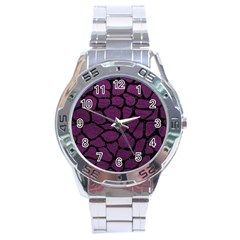 Skin1 Black Marble & Purple Leather (r) Stainless Steel Analogue Watch by trendistuff