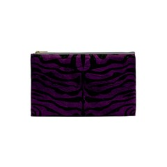 Skin2 Black Marble & Purple Leather Cosmetic Bag (small)  by trendistuff