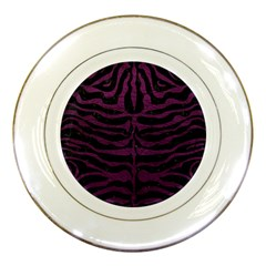 Skin2 Black Marble & Purple Leather (r) Porcelain Plates