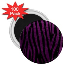 Skin4 Black Marble & Purple Leather 2 25  Magnets (100 Pack)  by trendistuff