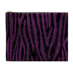 Skin4 Black Marble & Purple Leather Cosmetic Bag (xl) by trendistuff