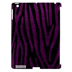 Skin4 Black Marble & Purple Leather Apple Ipad 3/4 Hardshell Case (compatible With Smart Cover) by trendistuff
