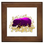 Pink Hippo Sparkle Framed Tile