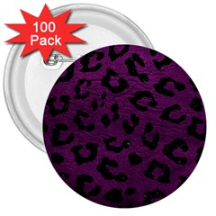 Skin5 Black Marble & Purple Leather (r) 3  Buttons (100 Pack)  by trendistuff