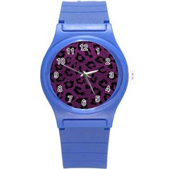 Skin5 Black Marble & Purple Leather (r) Round Plastic Sport Watch (s) by trendistuff