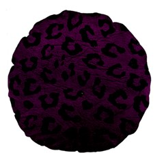 Skin5 Black Marble & Purple Leather (r) Large 18  Premium Flano Round Cushions by trendistuff