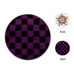 Square1 Black Marble & Purple Leather Playing Cards (round)  by trendistuff