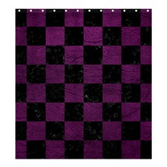 Square1 Black Marble & Purple Leather Shower Curtain 66  X 72  (large)  by trendistuff
