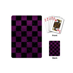 Square1 Black Marble & Purple Leather Playing Cards (mini)  by trendistuff