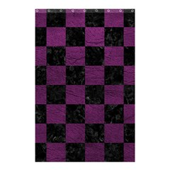 Square1 Black Marble & Purple Leather Shower Curtain 48  X 72  (small)  by trendistuff