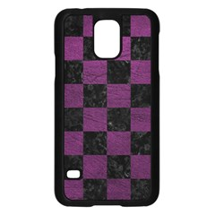 Square1 Black Marble & Purple Leather Samsung Galaxy S5 Case (black) by trendistuff