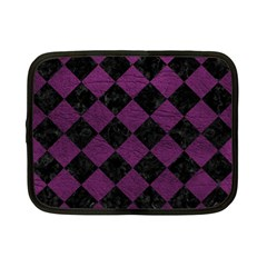 Square2 Black Marble & Purple Leather Netbook Case (small)  by trendistuff