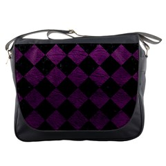 Square2 Black Marble & Purple Leather Messenger Bags by trendistuff