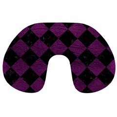 Square2 Black Marble & Purple Leather Travel Neck Pillows by trendistuff