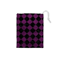 Square2 Black Marble & Purple Leather Drawstring Pouches (small)  by trendistuff