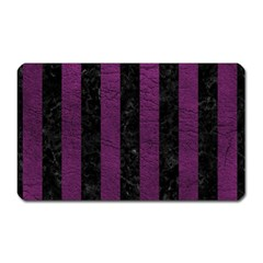 Stripes1 Black Marble & Purple Leather Magnet (rectangular) by trendistuff